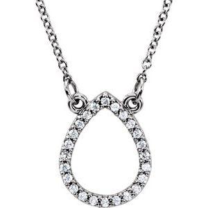 "14K White 1/10 CTW Diamond Teardrop 16"" Necklace"