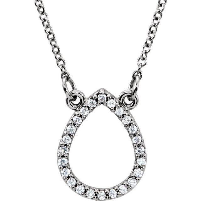 14K White 1/10 CTW Diamond Teardrop 16