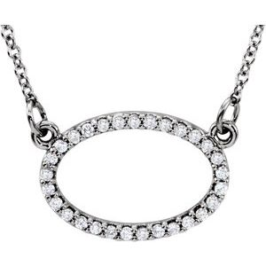 "14K White 1/8 CTW Diamond Horizontal Oval 16"" Necklace"