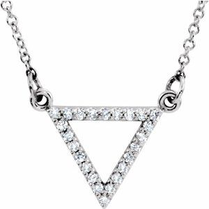 "14K White 1/10 CTW Diamond Triangle 16"" Necklace"