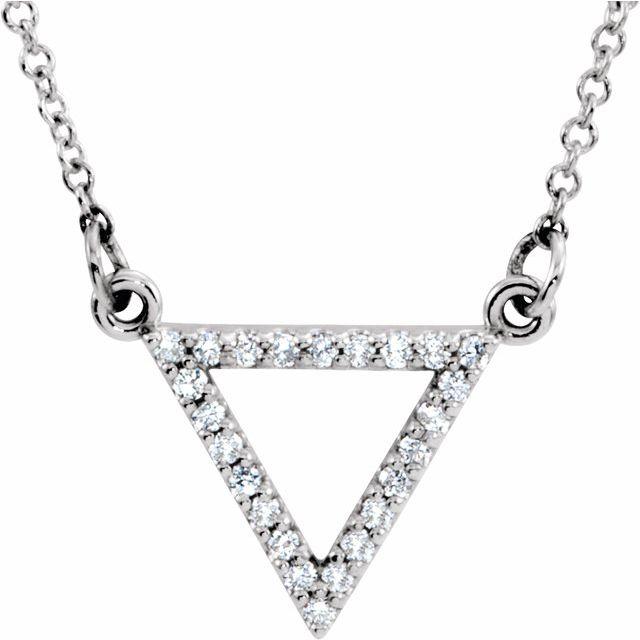 14K White 1/10 CTW Diamond Triangle 16