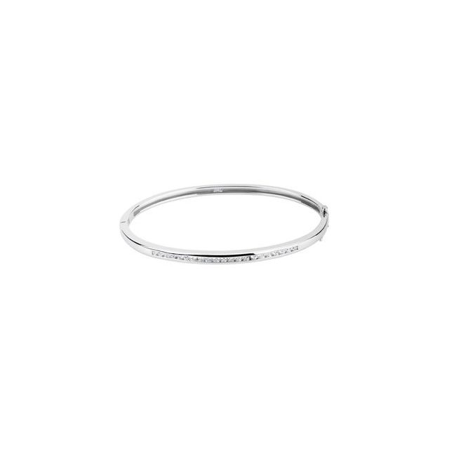 14K White 5/8 CTW Diamond Bangle Bracelet