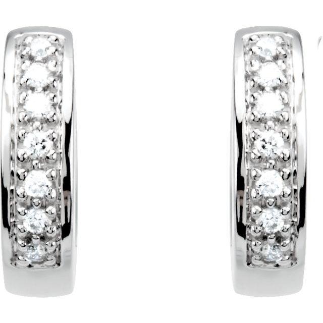14K White 1/6 CTW Diamond Huggie Earrings