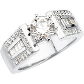 Baguette Accented Engagement Ring Base