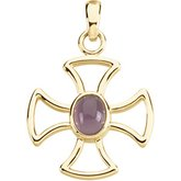 Solitaire Maltese Cross Pendant