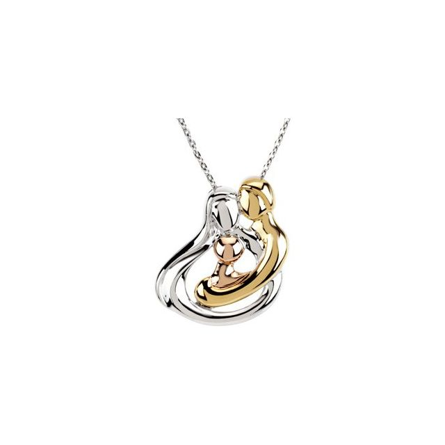18K Yellow Gold-Plated and 14K Rose Gold-Plated Sterling Silver 1 Child Family 18