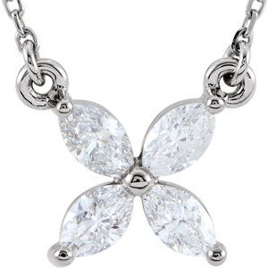"14K White 1/2 CTW Diamond Floral-Inspired 16"" Necklace"