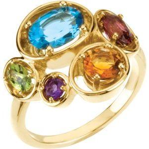14K Yellow Multi-Gemstone Ring