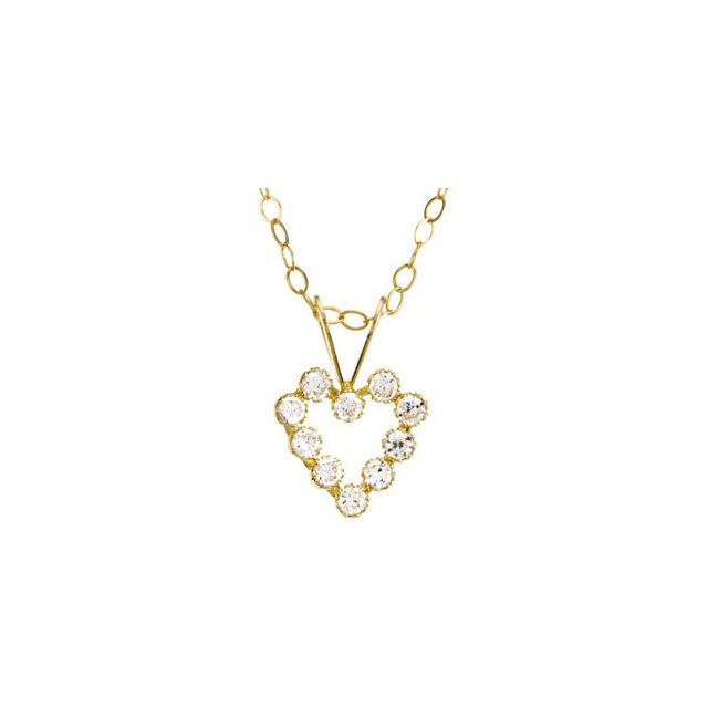 14K Yellow 1.5 mm Round Cubic Zirconia Heart 15