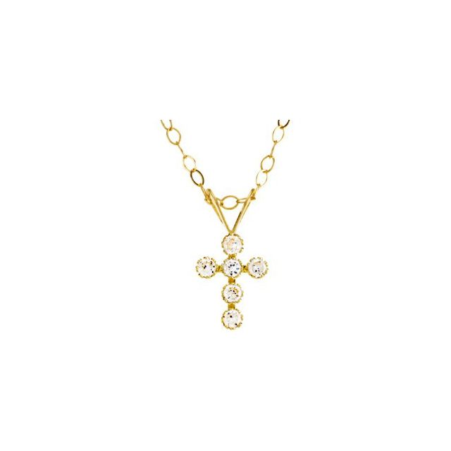 14K Yellow 1.5 mm Round Cubic Zirconia Cross 15