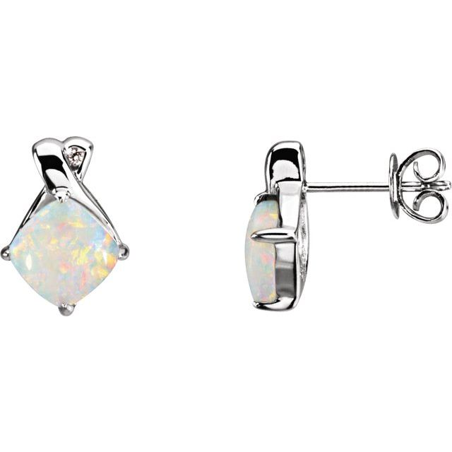 14K White Opal & .02 CTW Diamond Earrings