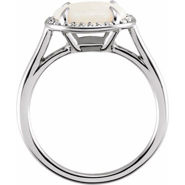 14K White Opal & .06 CTW Diamond Ring