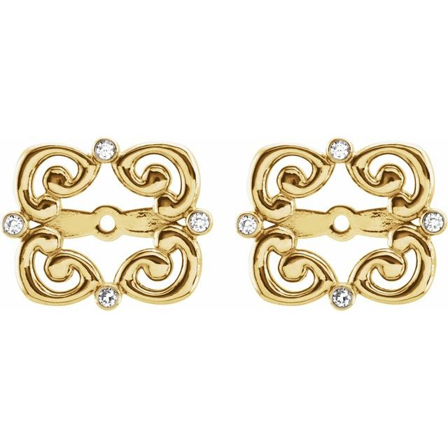 14K Yellow .08 CTW Diamond Vintage-Inspired Earring Jackets with 5.7 mm ID