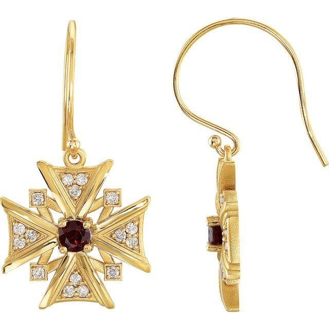 14K Yellow Mozambique Garnet & 1/3 CTW Diamond Earrings