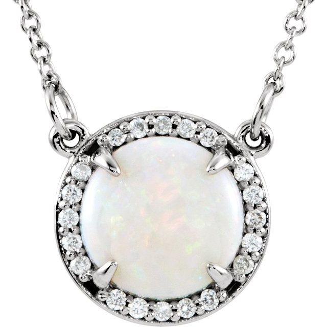 14K White Opal & .05 CTW Diamond 16