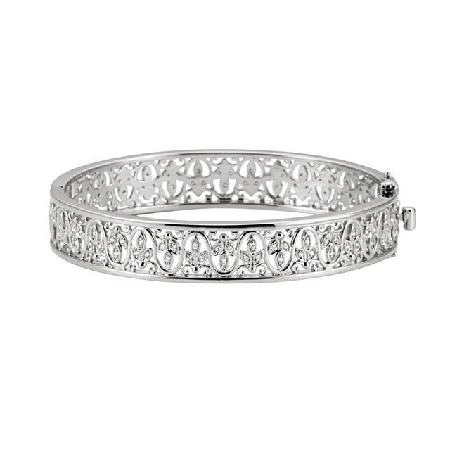 14K White 1/2 CTW Diamond Bangle Bracelet