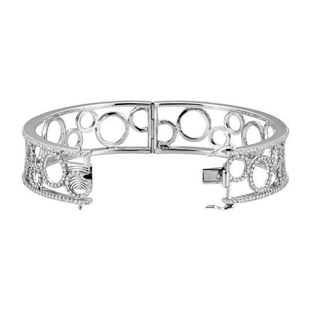 14K White 6 7/8 CTW Diamond Bangle Bracelet