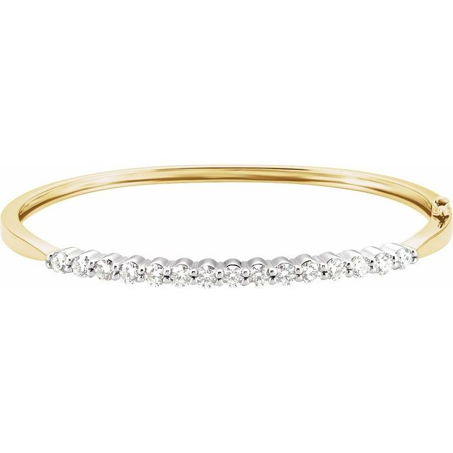 "14K Yellow/White 2 1/8 CTW Diamond Bangle 7"" Bracelet"