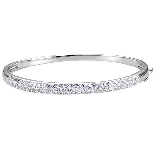"14K White 1 1/2 CTW Diamond Bangle 7"" Bracelet"