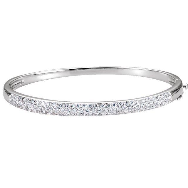 "14K White 1 1/2 CTW Diamond Bangle 7"" Bracelet"