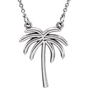 "14K White Palm Tree 16 1/2"" Necklace"