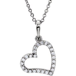 "14K White 1/10 CTW Diamond 16"" Necklace"