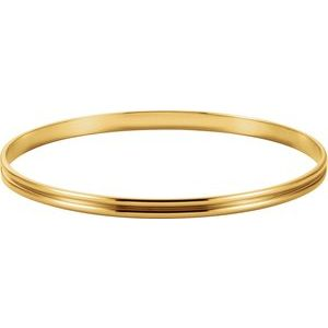 14K Yellow 4 mm Grooved Bangle Bracelet