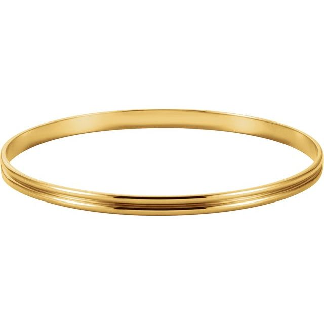 14K Yellow 4 mm Grooved Bangle Bracelet