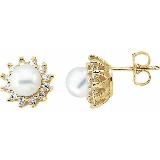 14K Yellow Akoya Cultured Pearl & 1/3 CTW Diamond Earrings