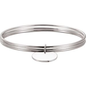 "Sterling Silver 26 mm Triple Bangle 8"" Bracelet"