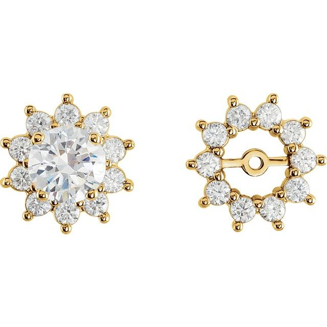 14K Yellow 3/4 CTW Natural Diamond Earring Jackets with 5mm ID