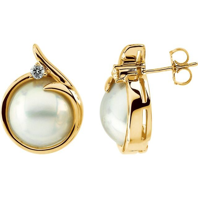 Accented Mabé Pearl Earrings