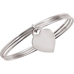 "Sterling Silver Triple Bangle 8"" Bracelet with Heart Dangle"