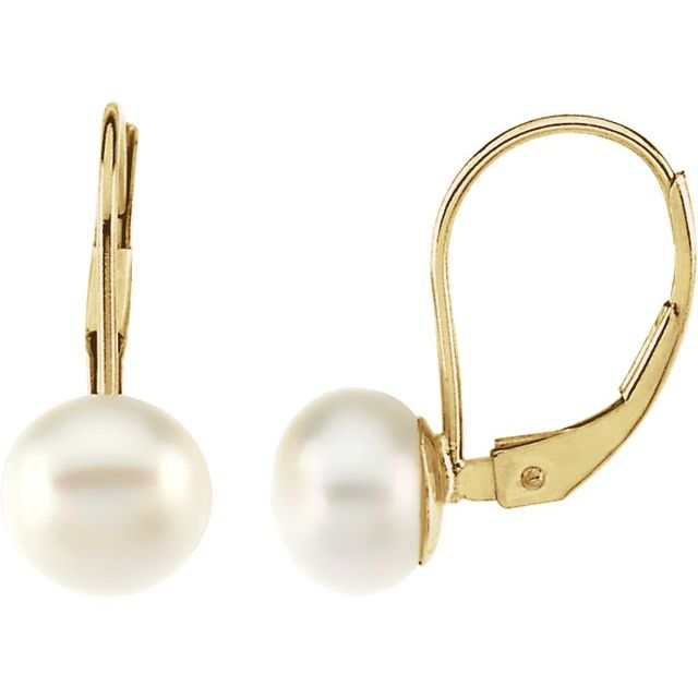 14K Yellow Freshwater Cultured Pearl Lever Back Earrings