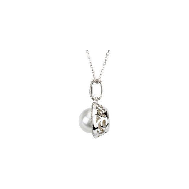 14K White Freshwater Cultured Pearl & 1/3 CTW Diamond 18