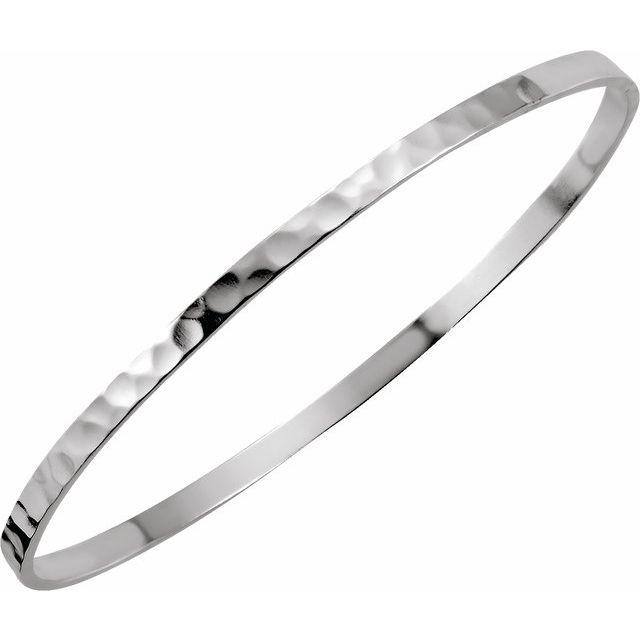 Sterling Silver 3.25 mm Hammered Bangle Bracelet