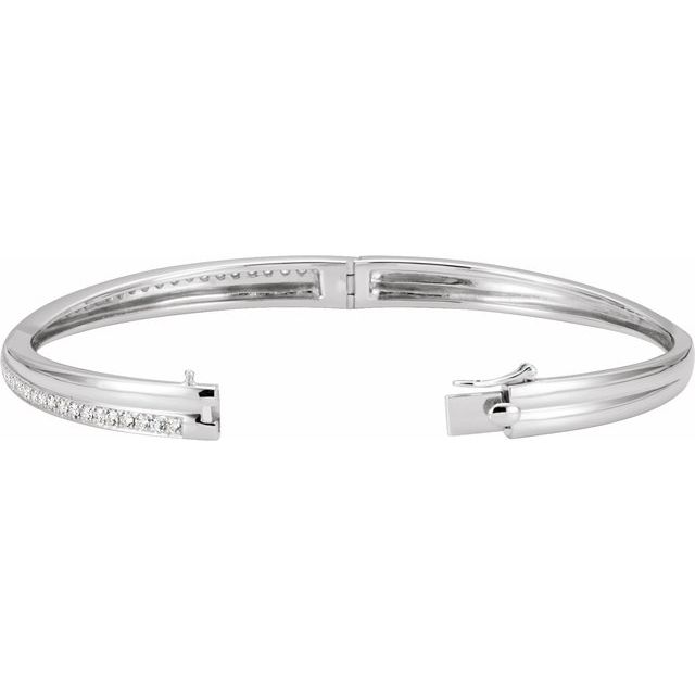14K White 1 CTW Diamond Criss-Cross Bangle Bracelet