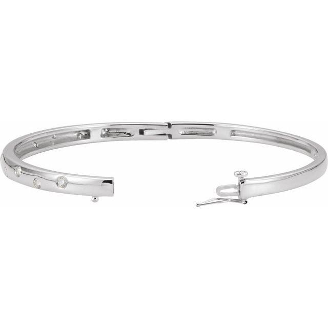 14K White 1/2 CTW Diamond Bangle Bracelet