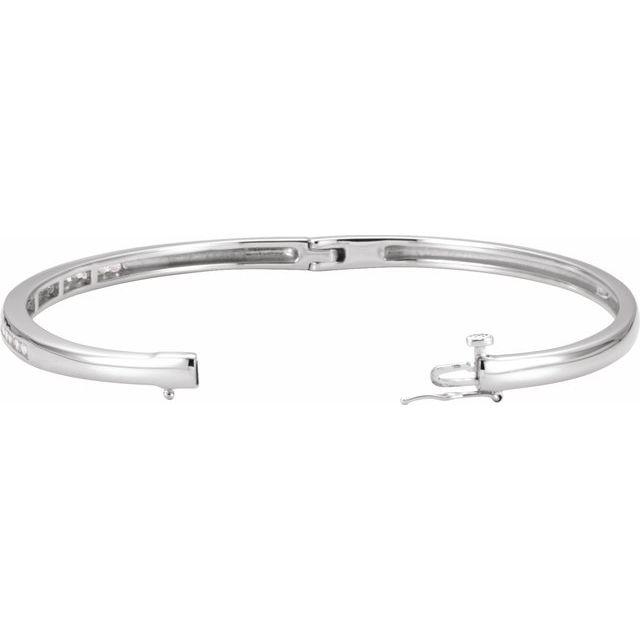 14K White 5/8 CTW Diamond Bangle Bracelet
