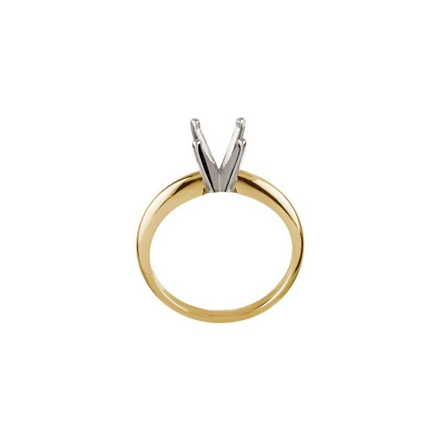 14K Yellow & Platinum 9.1-9.7 mm Round 4-Prong Light Solitaire Ring Mounting