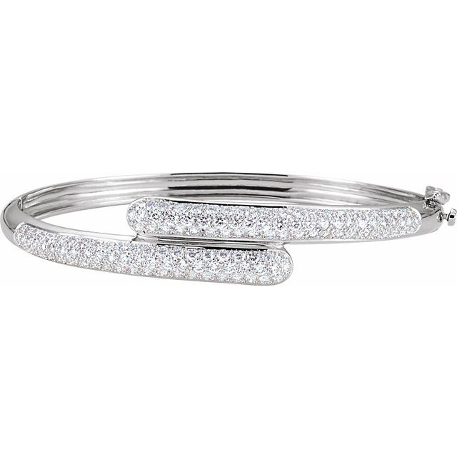 14K White 3 CTW Diamond Bangle Bracelet