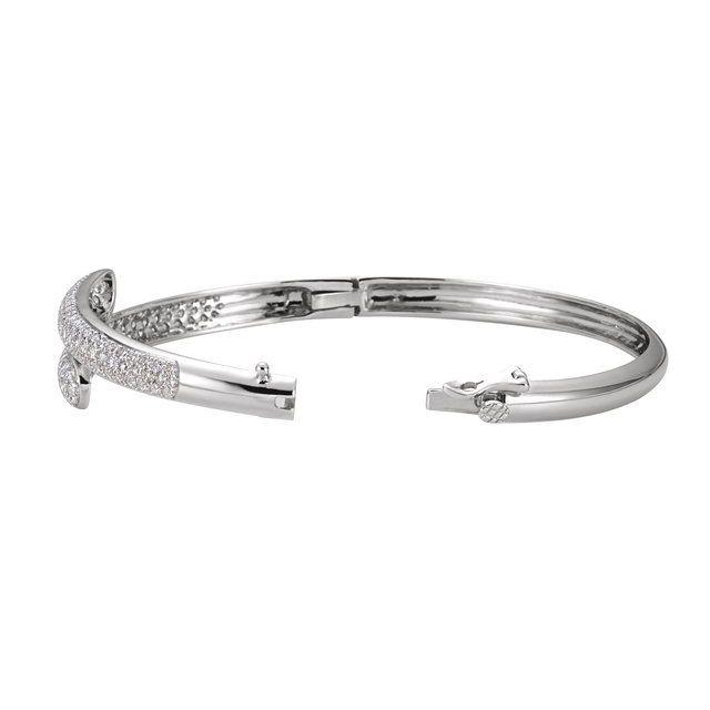 14K White 3 CTW Diamond Bangle Bracelet
