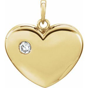 14K Yellow 1/6 CT Diamond 22.5x19.5 mm Heart Pendant