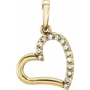 14K Yellow .06 CTW Diamond Heart Pendant