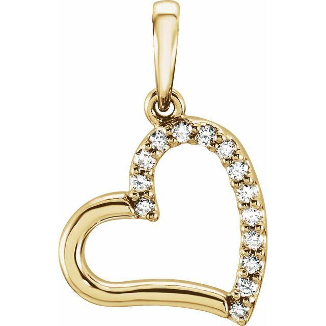 14K Yellow .06 CTW Diamond Heart Pendant
