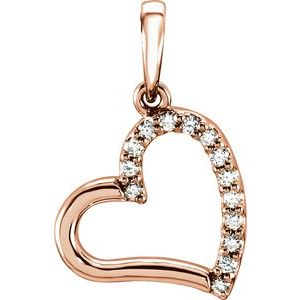 14K Rose .06 CTW Diamond Heart Pendant