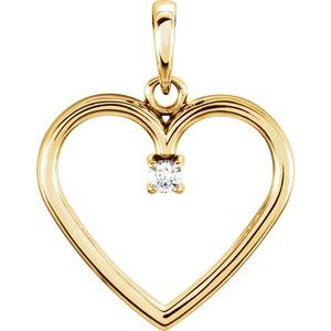 14K Yellow .025 CTW Diamond Heart Pendant