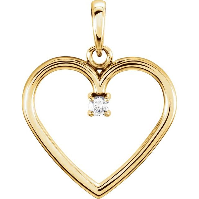 14K Yellow .03 CTW Diamond Heart Pendant