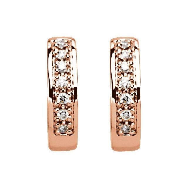 14K Rose 1/6 CTW Diamond Huggie Earrings