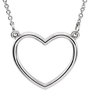 "14K White 17x15.8 mm Heart 16"" Necklace"